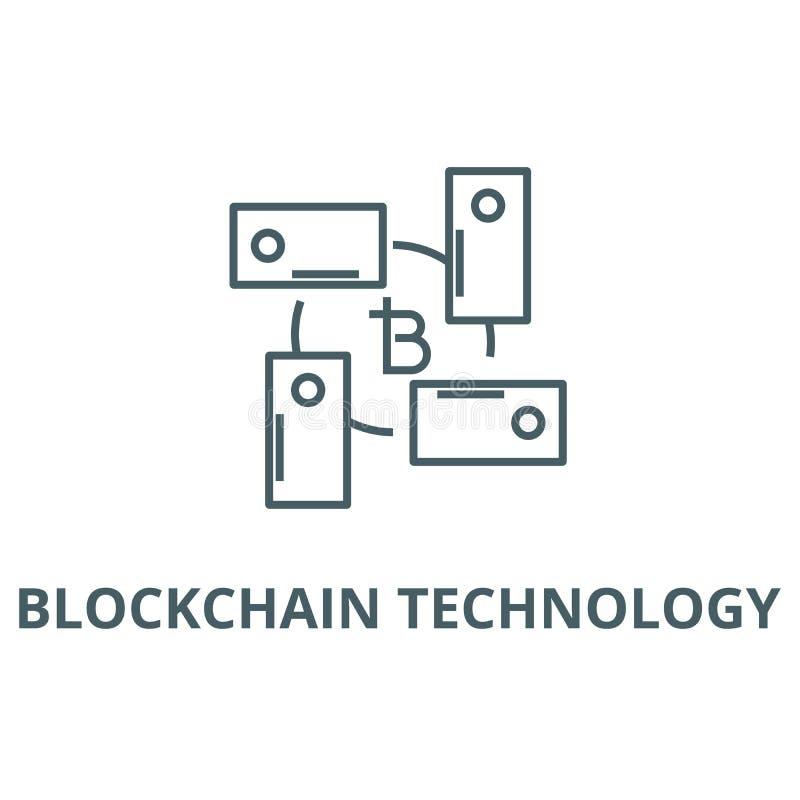 Blockchain teknologilinje symbol, vektor Tecken för Blockchain teknologiöversikt, begreppssymbol, plan illustration vektor illustrationer