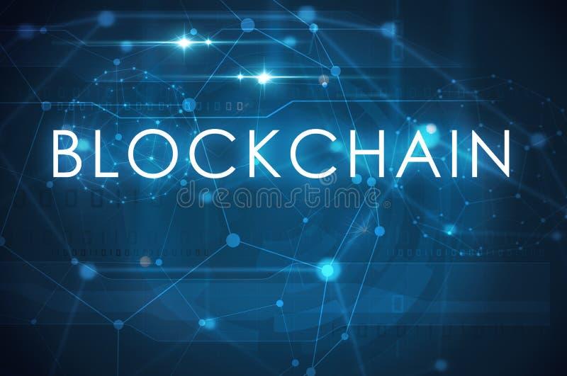 Blockchain tekst na błękitnym tle ilustracja wektor