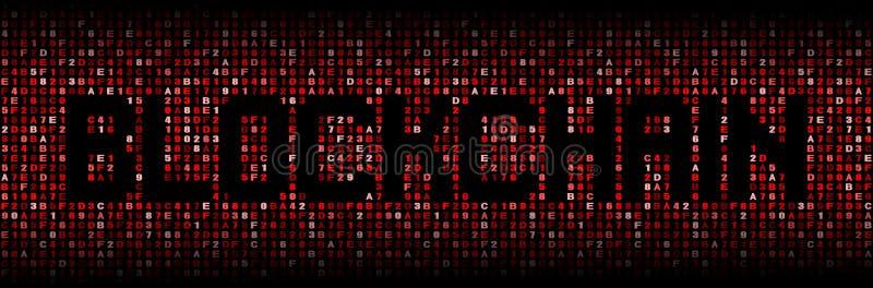 Blockchain text on hex illustration. Blockchain text on abstract hex background illustration royalty free illustration