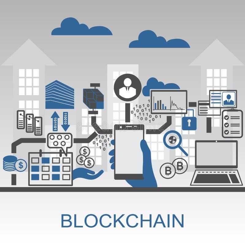 Blockchain-Vektor-Hintergrundillustration mit der Hand, die Smartphone und Ikonen hält vektor abbildung