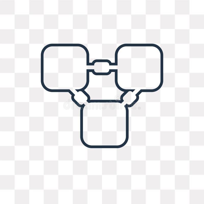 Blockchain vektorsymbol som isoleras på genomskinlig bakgrund, linea stock illustrationer