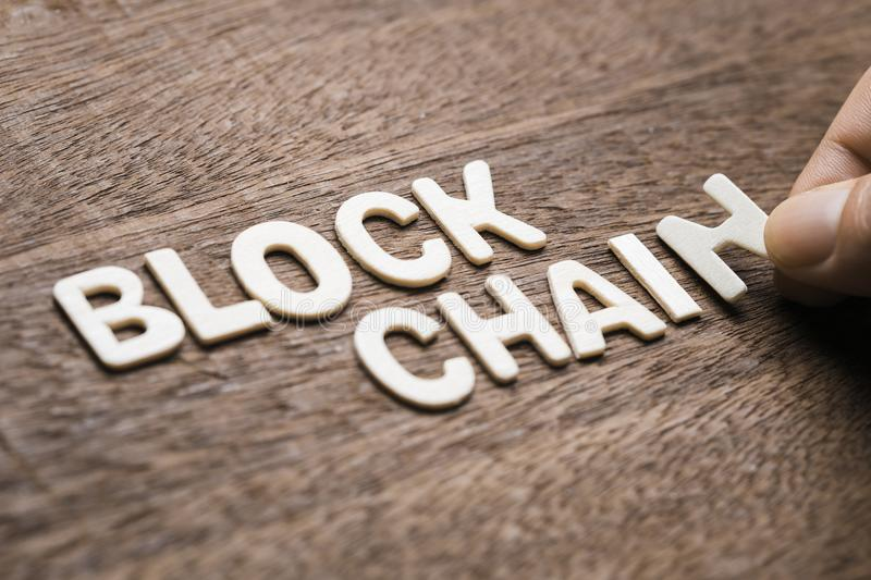 Blockchain Wood Letters royalty free stock photos