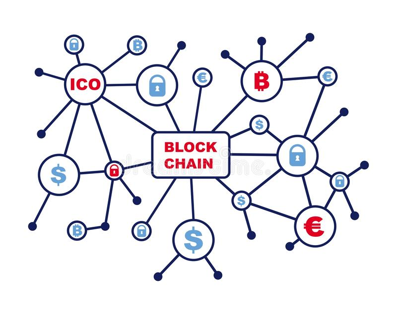 Blockchain word with icons as vector illustration vector illustration