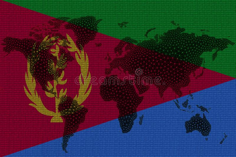 Blockchain world map on the background of the flag of Eritrea and cracks. Eritrea cryptocurrency concept stock illustration