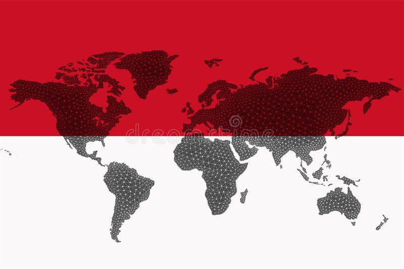 Blockchain world map on the background of the flag of Indonesia and cracks. Indonesia cryptocurrency concept.  stock images