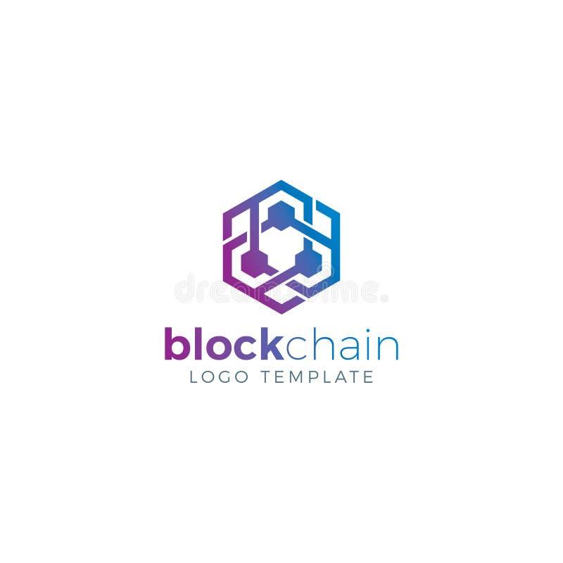 Blockchain y Cryptocurrency Logo Concept stock de ilustración