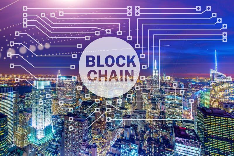 Blockchainbegreppet i databasledning royaltyfria foton
