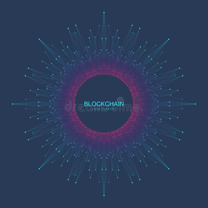 Blockchainembleem, teken, pictogramconcept Fractal de bannerontwerp van cryptocurrencygegevens Grafisch abstract geometrisch ontw royalty-vrije illustratie