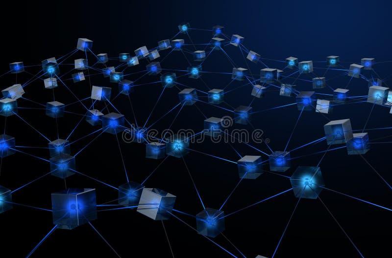 Blockchaininformatienet royalty-vrije illustratie