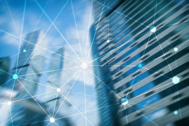 Blockchainnetwerk op vage wolkenkrabbersachtergrond Financieel technologie en communicatie concept stock afbeelding
