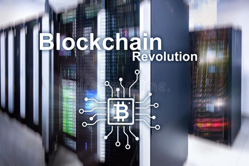 Blockchainrevolutie, innovatietechnologie in moderne zaken royalty-vrije stock foto