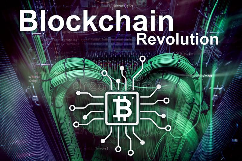 Blockchainrevolutie, innovatietechnologie in moderne zaken royalty-vrije stock afbeelding