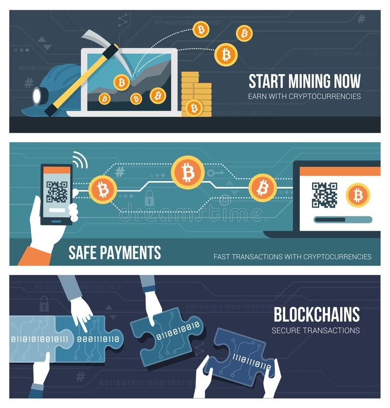 Blockchains, cryptocurrency and finance royalty free illustration
