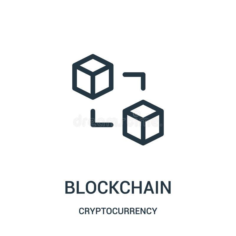 blockchainsymbolsvektor från cryptocurrencysamling Tunn linje illustration för vektor för blockchainöversiktssymbol vektor illustrationer