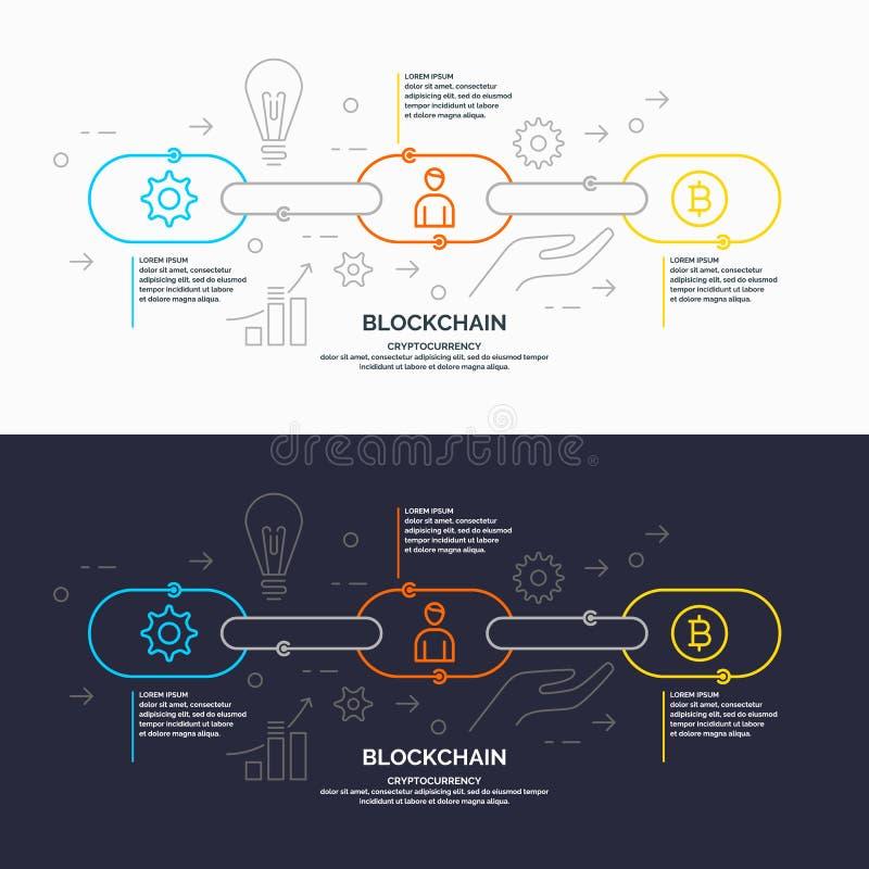 Blockchaintechnologie en cryptocurrency vector illustratie