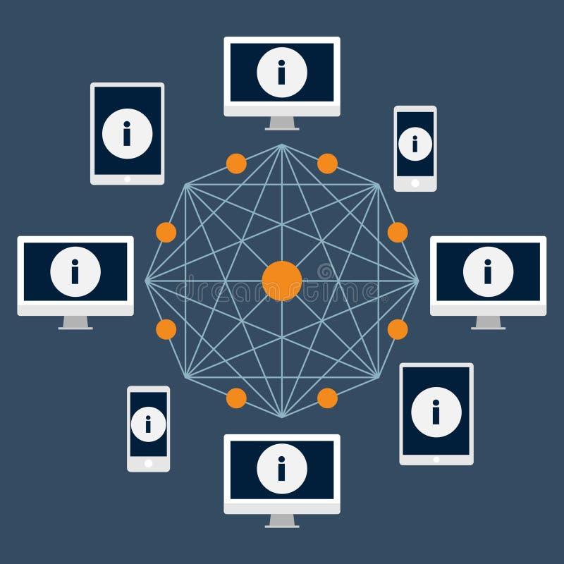 Blockchaintechnologie Informatie, cryptocurrency en geldoverdracht van één gebruiker aan een ander en netwerkbevestiging royalty-vrije illustratie