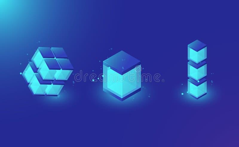 Blockchaintechnologie lemets voor ontwerp, isometrisch glanzend vakje, gegevensbestand, de donkerblauwe vector van de glaskubus royalty-vrije illustratie