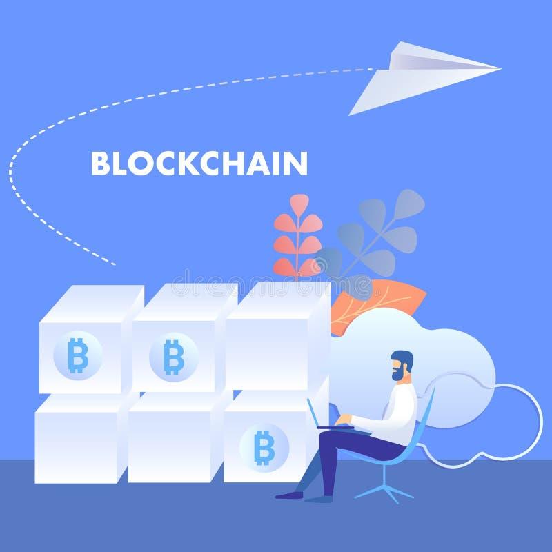 Blockchaintechnologie, Mijnlandbouwbedrijfillustratie royalty-vrije illustratie