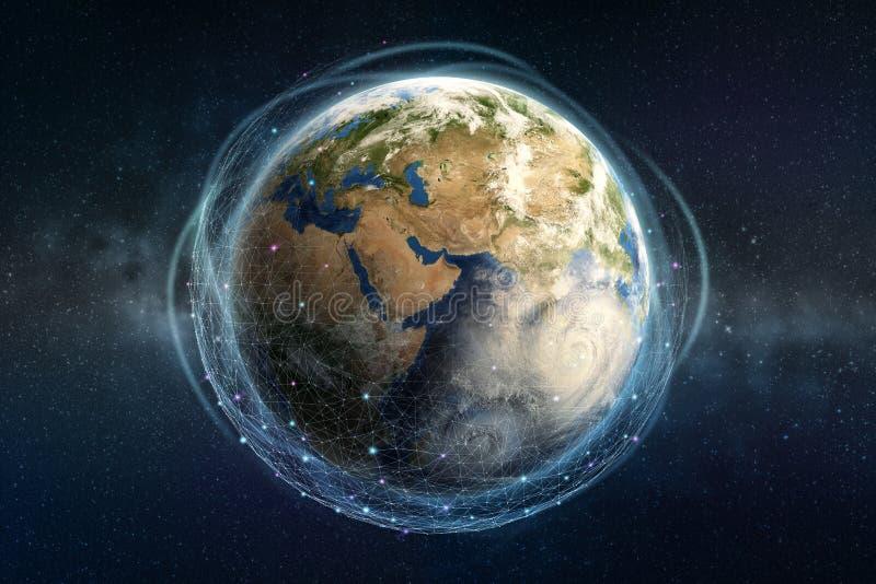 Blockchaintechnologie op wereldschaal Het informatienetwerk omringt de volledige planeet royalty-vrije stock foto's