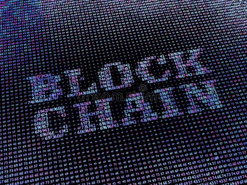 Blockchainwoord van de serie die van hexuitdraaiaantallen wordt gemaakt stock afbeeldingen