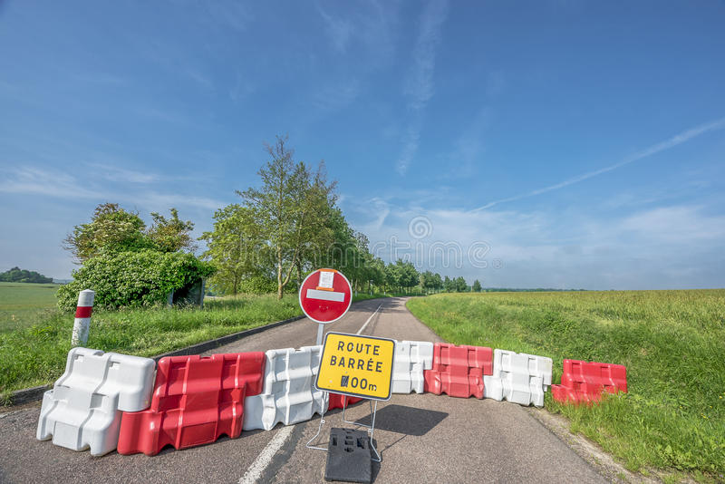 Blocked road in the countryside stock photos