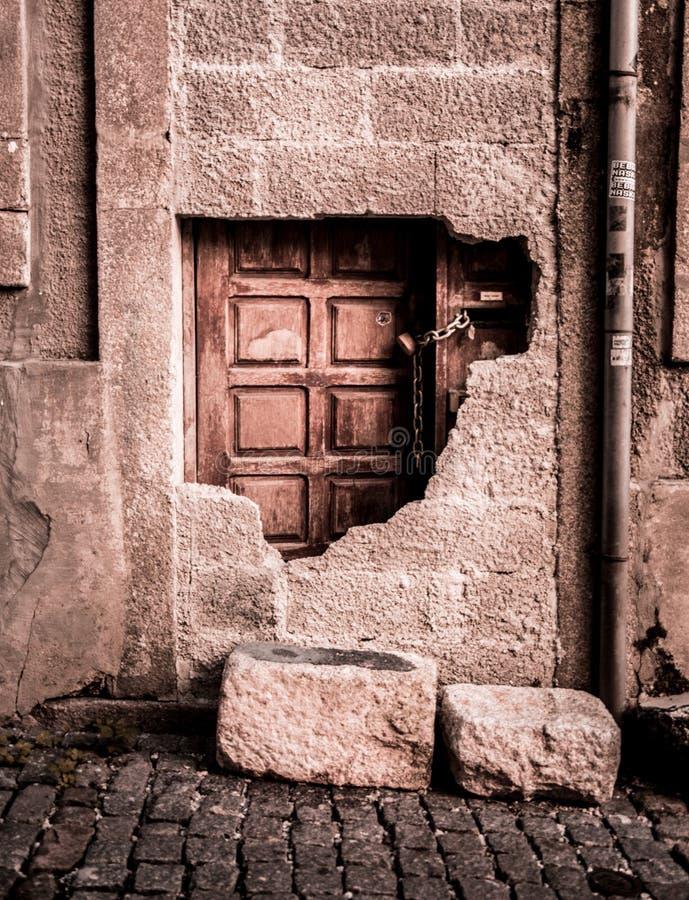 Blocked wooden door royalty free stock photography