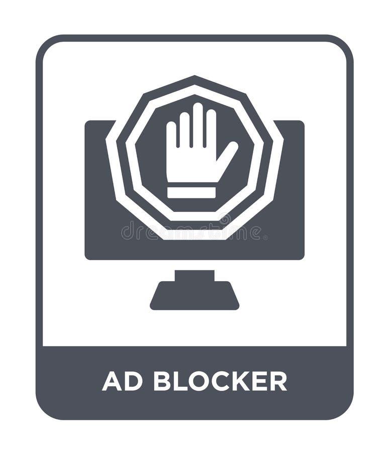 blocker αγγελιών εικονίδιο στο καθιερώνον τη μόδα ύφος σχεδίου blocker αγγελιών εικονίδιο που απομονώνεται στο άσπρο υπόβαθρο blo διανυσματική απεικόνιση