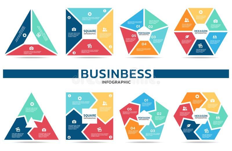Blockera infographic för design för vektor för affär (del tre, del fyra, del fem och del sex) fastställd vektor illustrationer