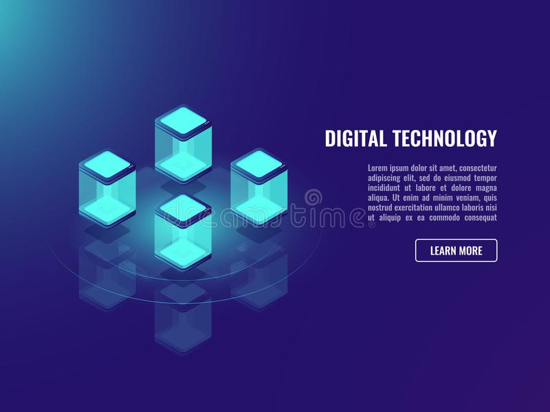 Blockhacin teknologibegrepp, isometriskt vektordatautbyte, informationslagring om moln, serverrum, datacenter och stock illustrationer