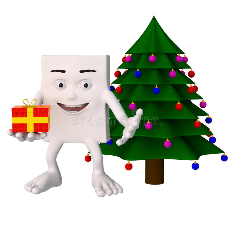 Blockhead cartoon character Christmas. White blockhead cartoon character holding a Christmas present or gift near a Christmas tree stock illustration