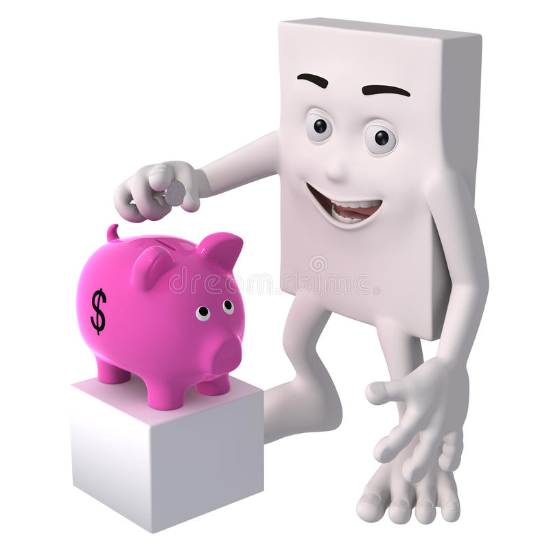 Blockhead cartoon with piggy bank vector illustration