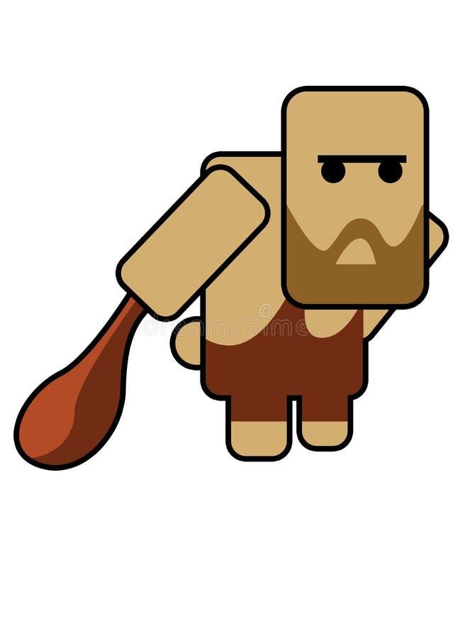 Blockhead caveman vector illustration