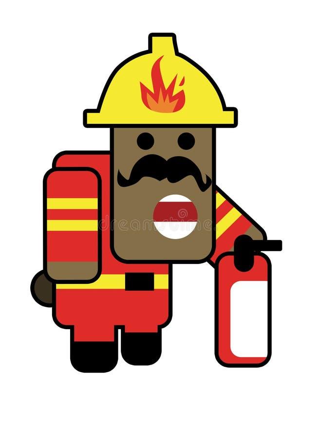 Blockhead fireman vector illustration