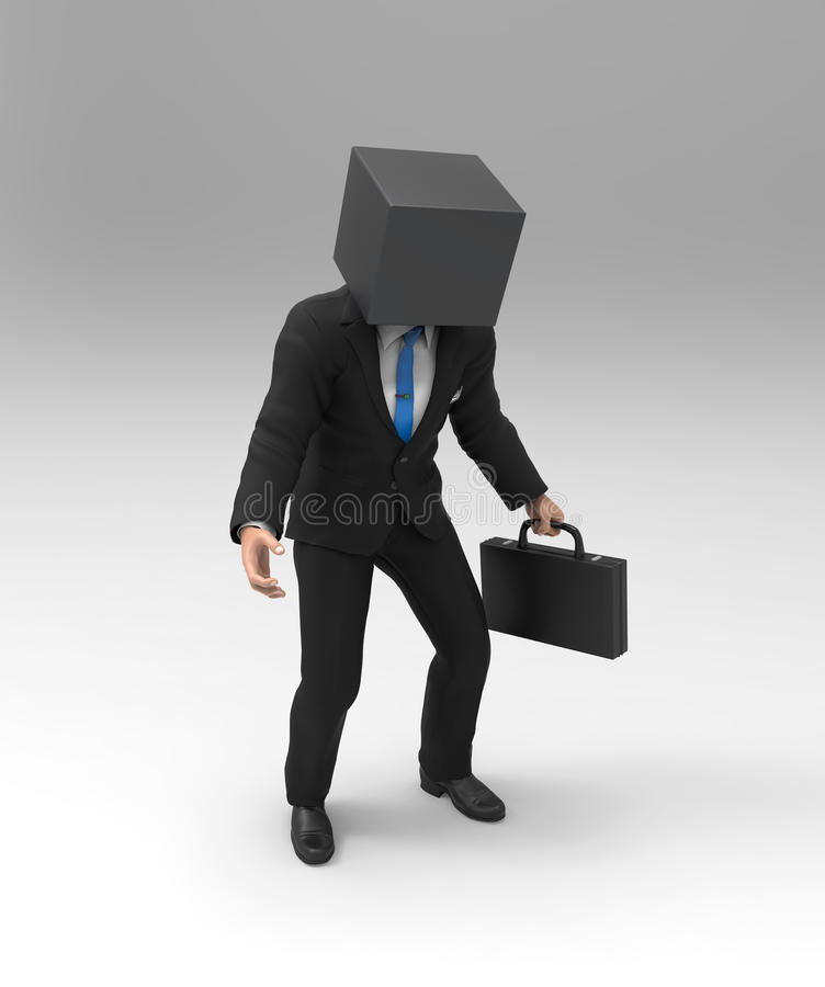 Blockhead man. On white background vector illustration