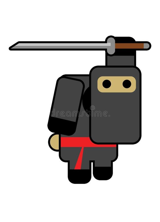 Blockhead ninja vector illustration