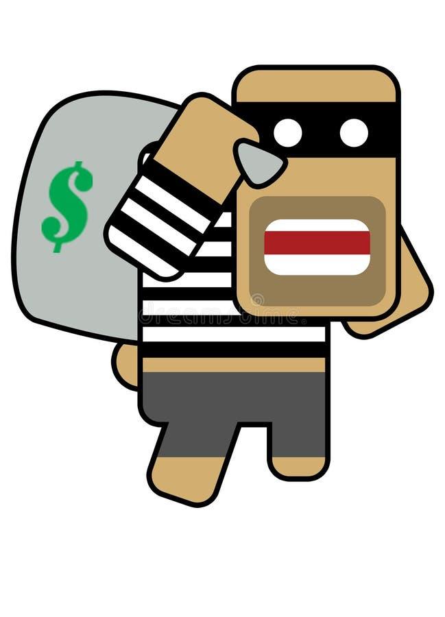 Blockhead robber royalty free illustration