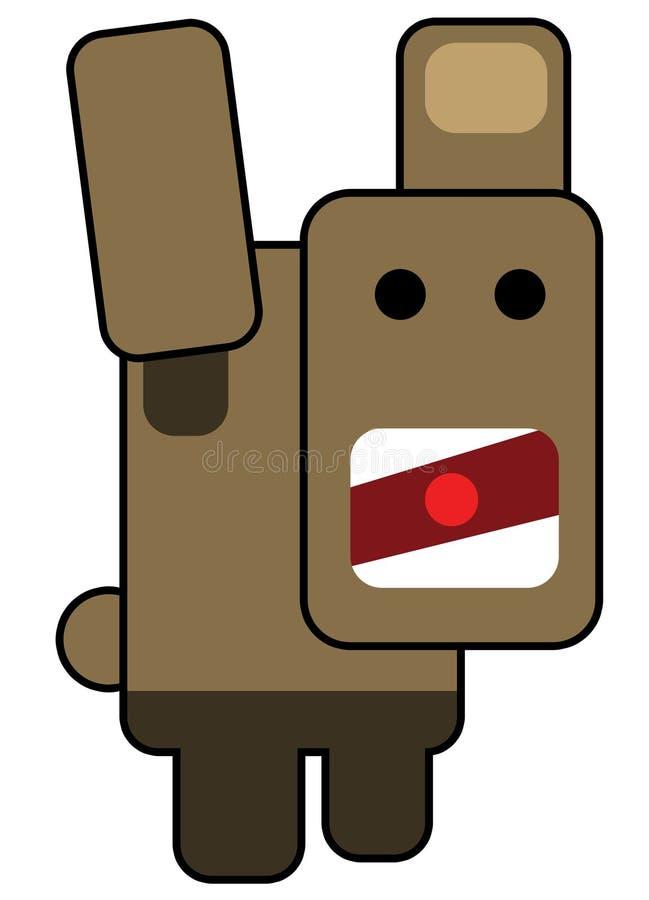 Blockhead scared man stock illustration