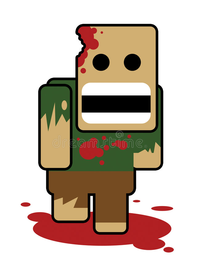 Blockhead zombe vector illustration