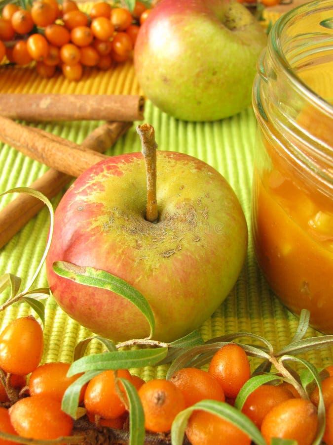 Blockieren Sie von den Früchten des Seewegdorns, -äpfel und -gewürzs stockfotos