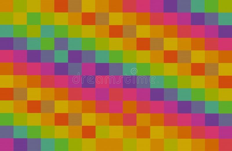 Blockiert bunter quadratischer abstrakter Hintergrundkontrast des Mosaiks Segeltuchreihen-Musterbasis des rosa Gelbgrünveilchens  lizenzfreie stockfotos