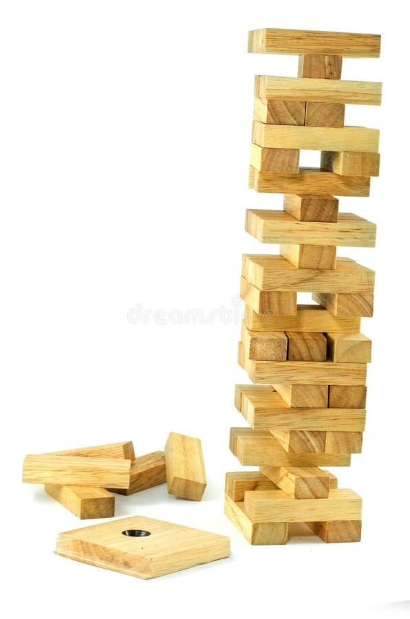 Blockiert hölzernes Spiel (jenga) stockbilder