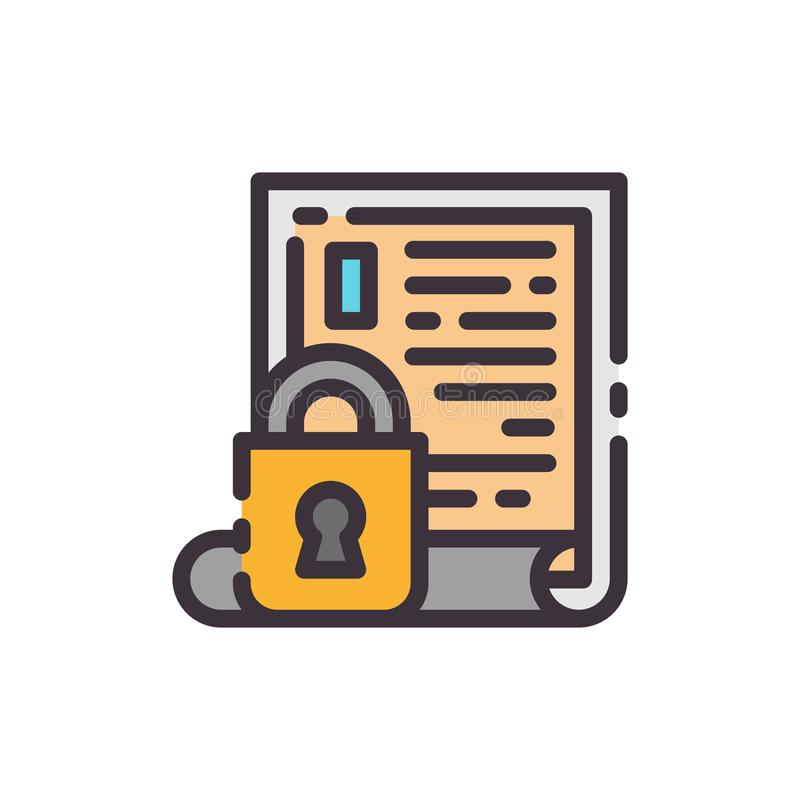 Blockierte Informationen Vektorfarbikone stock abbildung