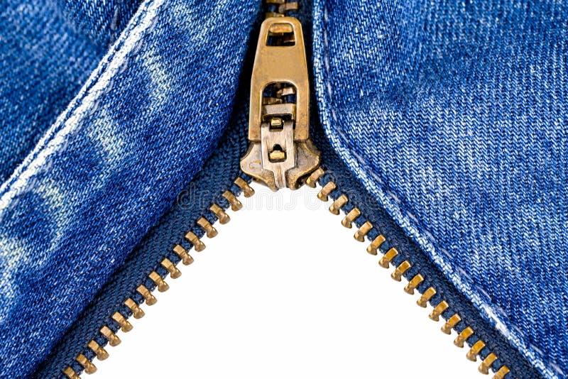 Blockierung des Reißverschlusses auf Jeans stockfotografie