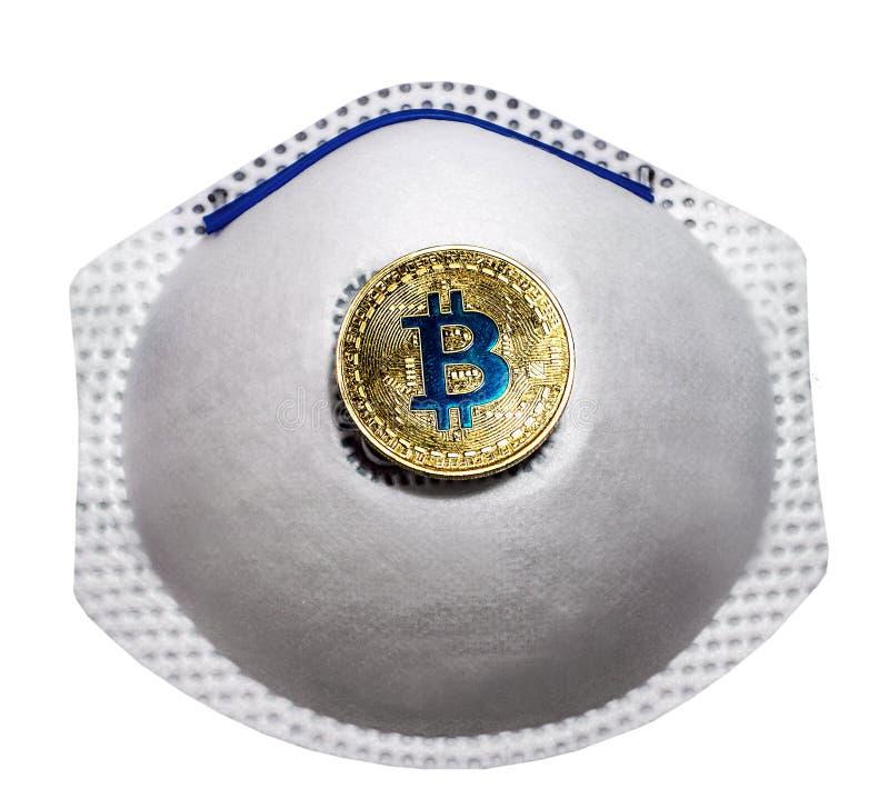 Blockkedja Bitcoin Symbol för medicinskt ansiktsskydd Luftvägsmask isolerad i bakgrunden fotografering för bildbyråer