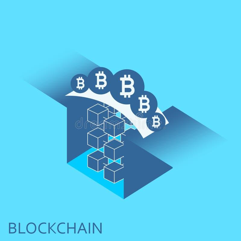 Blockketten-Vektorhintergrundillustration Cryptocurrency-Konzept stock abbildung