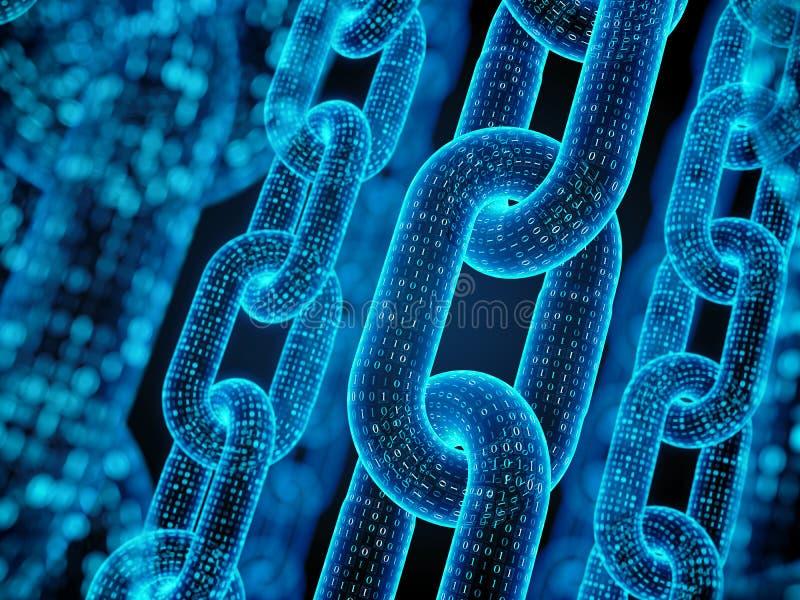 Blockkettenkonzept - digitale Codekette lizenzfreie abbildung
