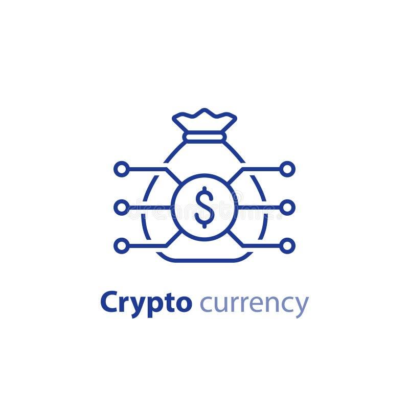 Blockkettentechnologie, Schlüsselwährung, Finanzeinzelteil, Portefeuille von Anlagepapieren, Innovationsgeschäft beginnen oben, i vektor abbildung