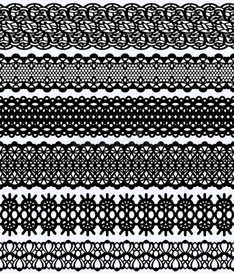 Blockprint wide lace borders set. Black Design Elements Isolated on white Background Seamless pattern suitable for laser cutting stock illustration