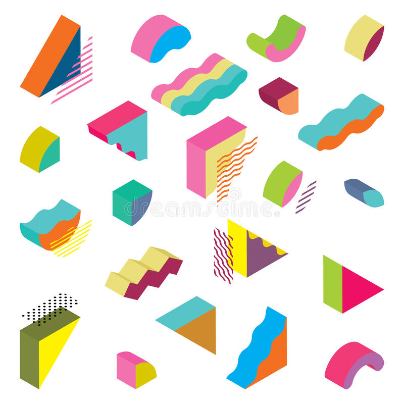 Blocks isometric Color Design elements royalty free illustration