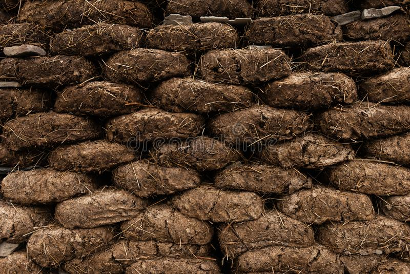 Blocks from manure are used as fuel for heating the house during the cold period. Blocks from manure are used as fuel for heating the house during the cold royalty free stock images